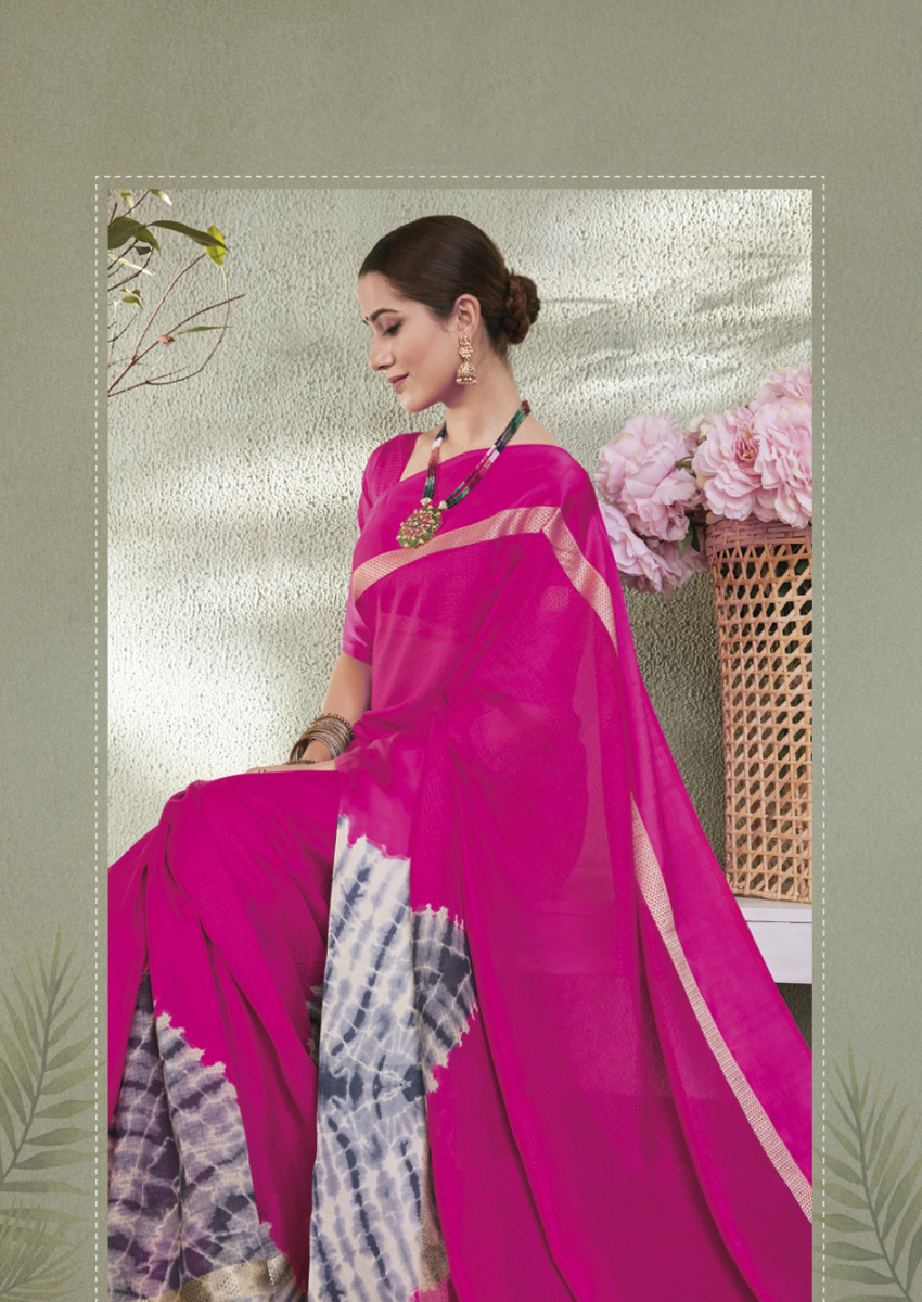 New Printed Designer Casual Wear Kota Silk Saree in Pink Colour.