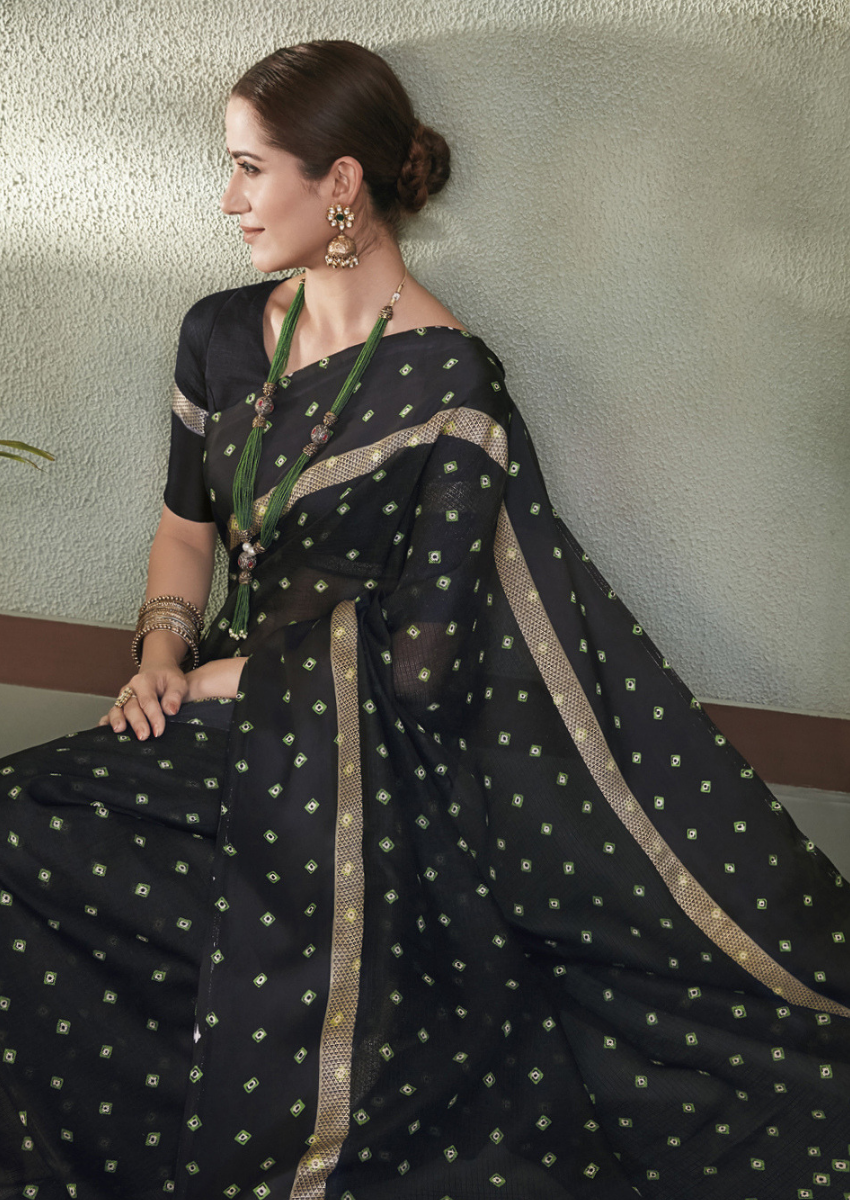 New Printed Designer Casual Wear Kota Silk Saree in Black Colour.