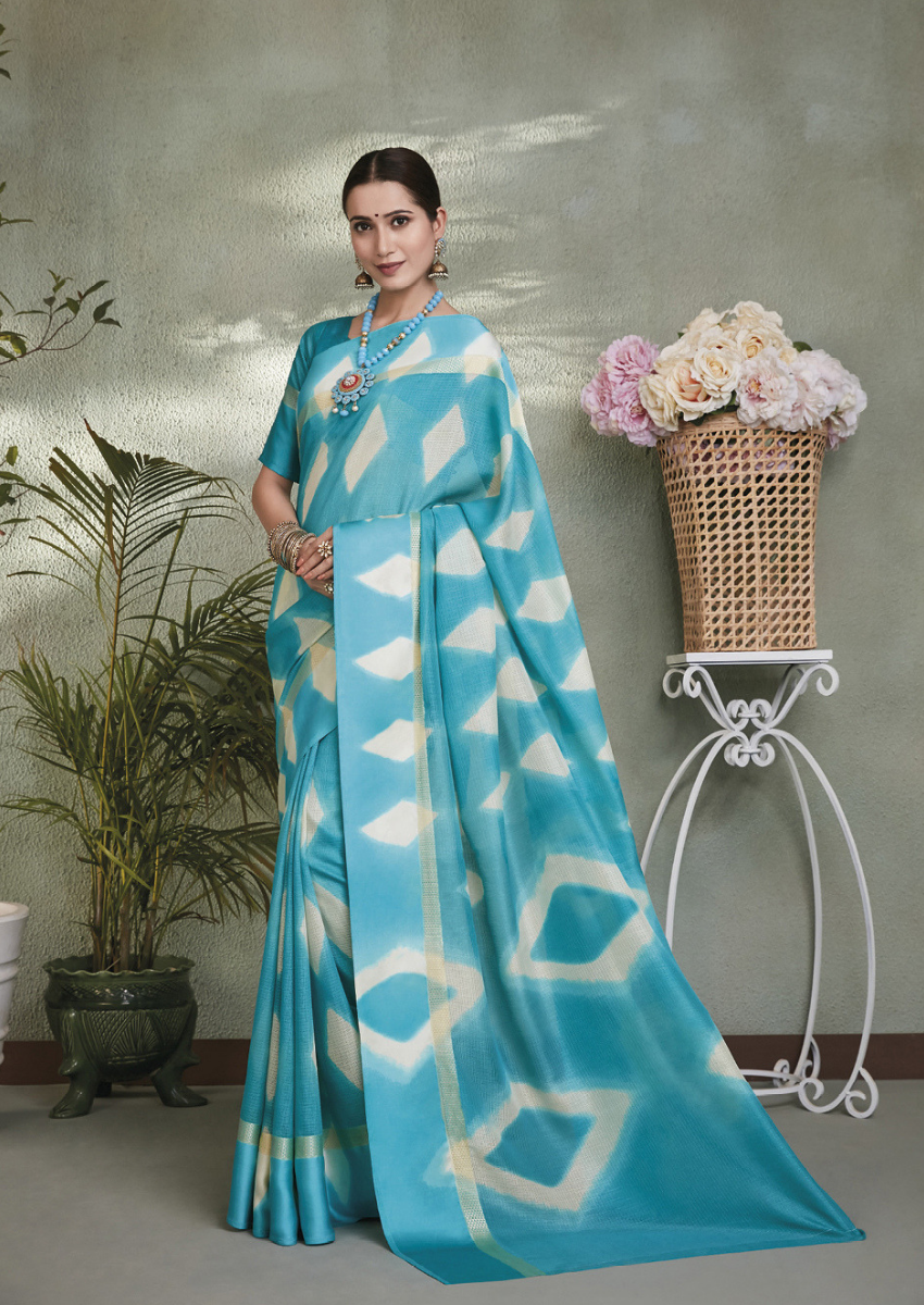 New Printed Designer Casual Wear Kota Silk Saree in Sky Blue Colour.