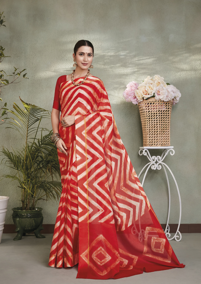 New Printed in Red Colour Designer Casual Wear Kota Silk Saree.