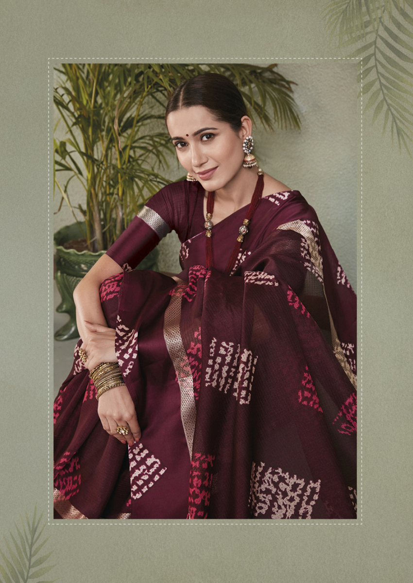 New Printed Designer Casual Wear Kota Silk Saree in Maroon Colour.