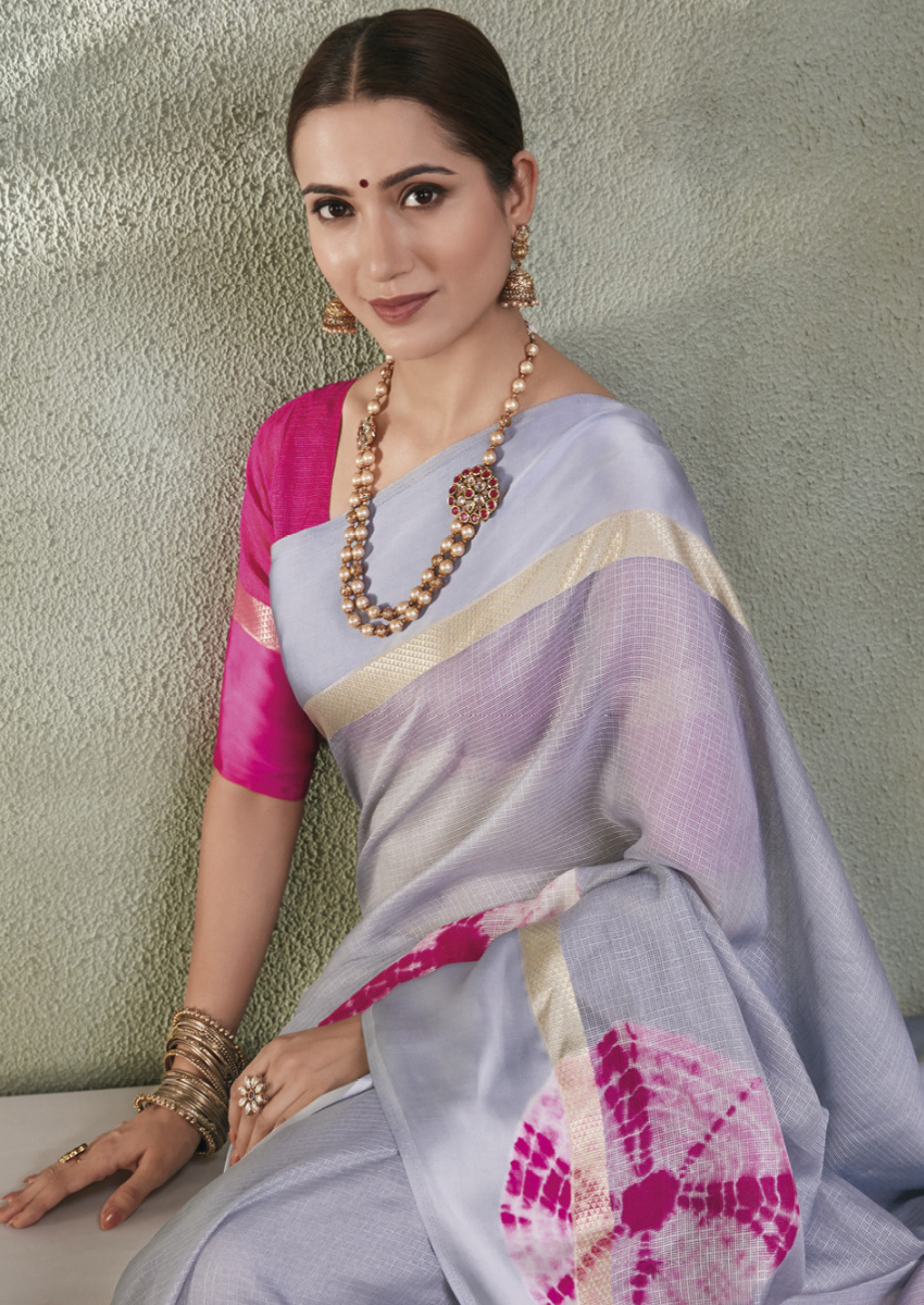 New Printed Designer Casual Wear Kota Silk Saree in Grey And Pink Colour.