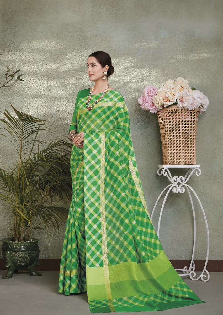 New Printed Designer Casual Wear Kota Silk Saree in Green Colour.