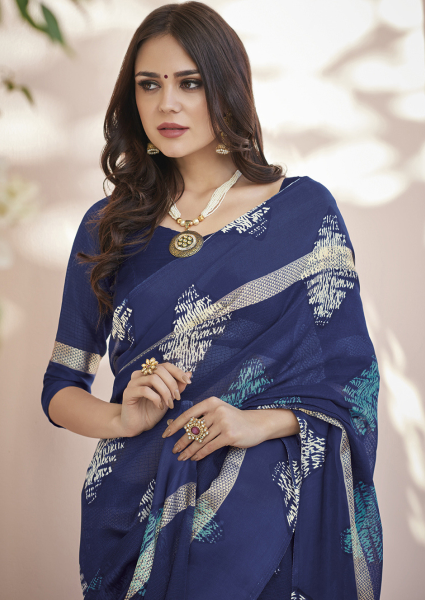 New Printed Designer Casual Wear Kota Silk Saree in Nevy Blue Colour.