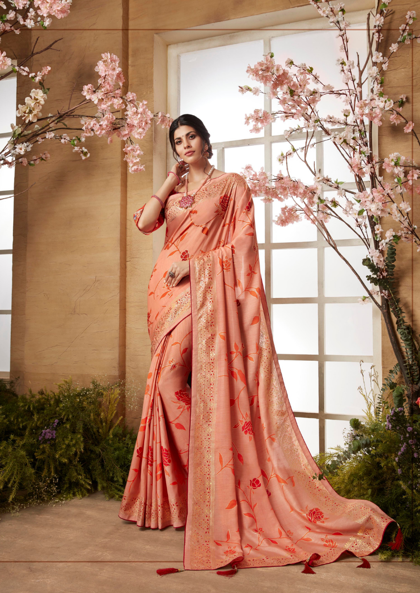 New Printed Designer Casual Wear Dola Silk Saree in Peach Color.