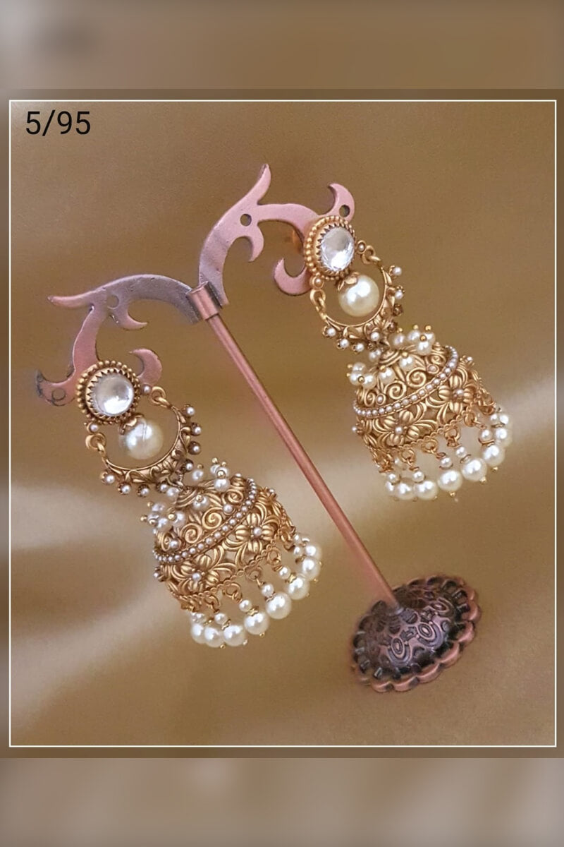 Atrractive Glod Plated With White Pearl Party Wear Earrings
