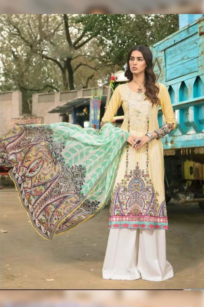 Collection Printed Pure Cotton with Embroidery Work Pakistani Dress Material In Cream.