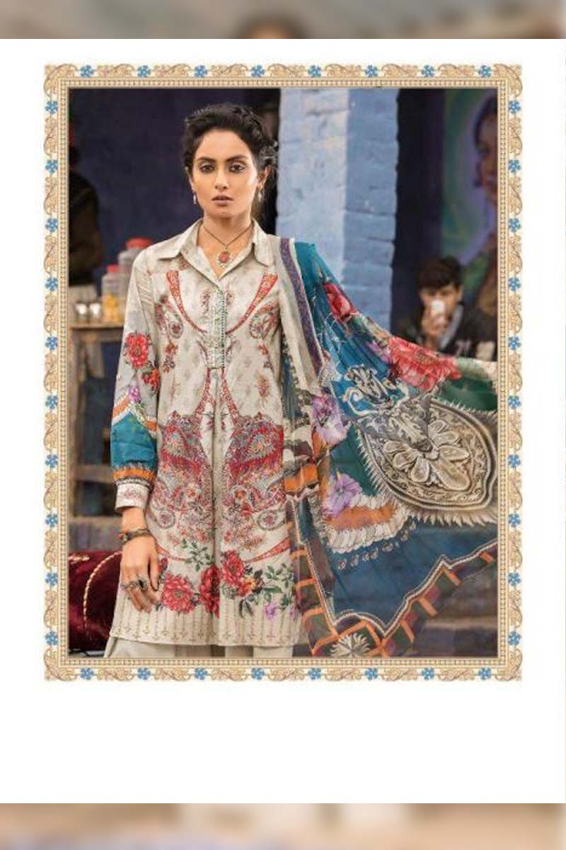 Collection Printed Pure Cotton with Embroidery Work Pakistani Dress Material In Grey.
