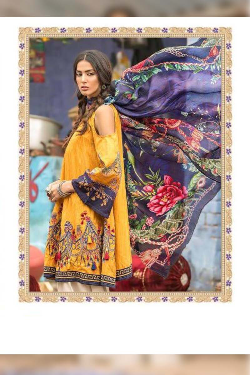 Collection Printed Pure Cotton with Embroidery Work Pakistani Dress Material In Yellow.