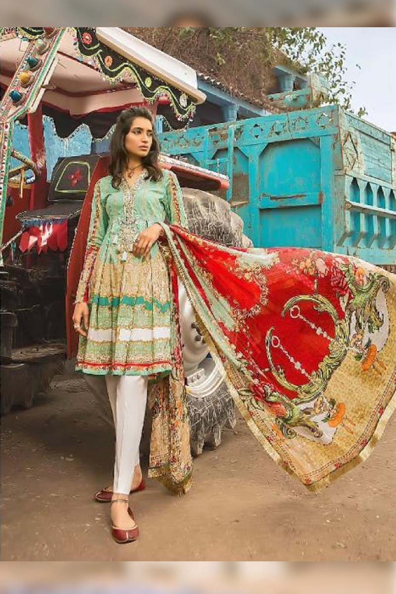 Collection Printed Pure Cotton with Embroidery Work Pakistani Dress Material In Light Green.