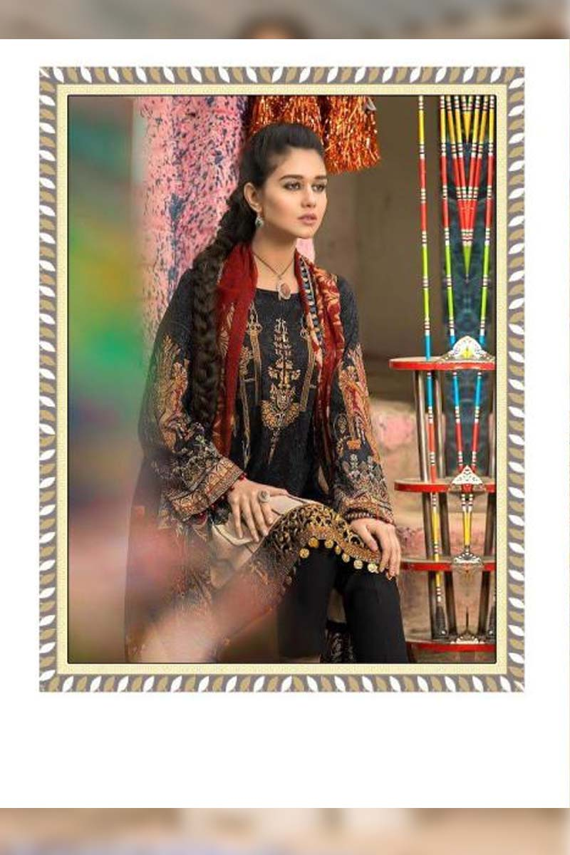Printed Pure Cotton with Embroidery Work Pakistani Dress Material In Black.