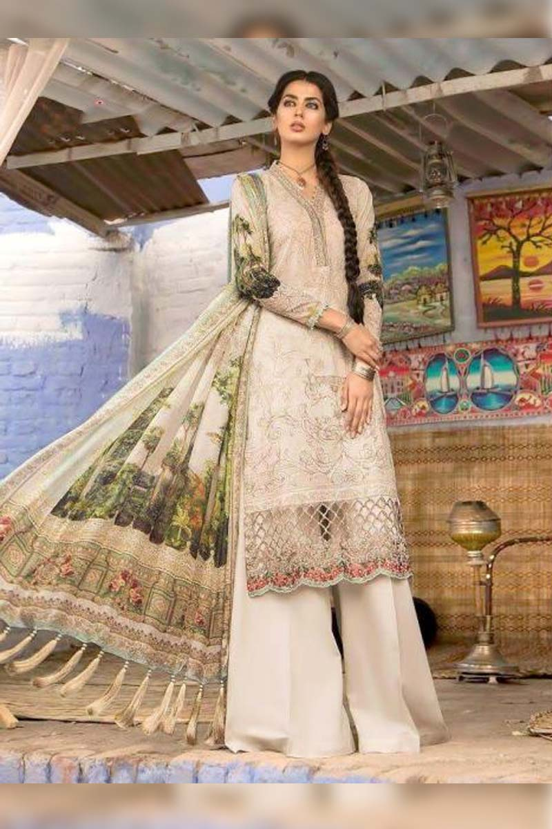 Printed Pure Cotton with Embroidery Work Pakistani Dress Material In Light Cream.