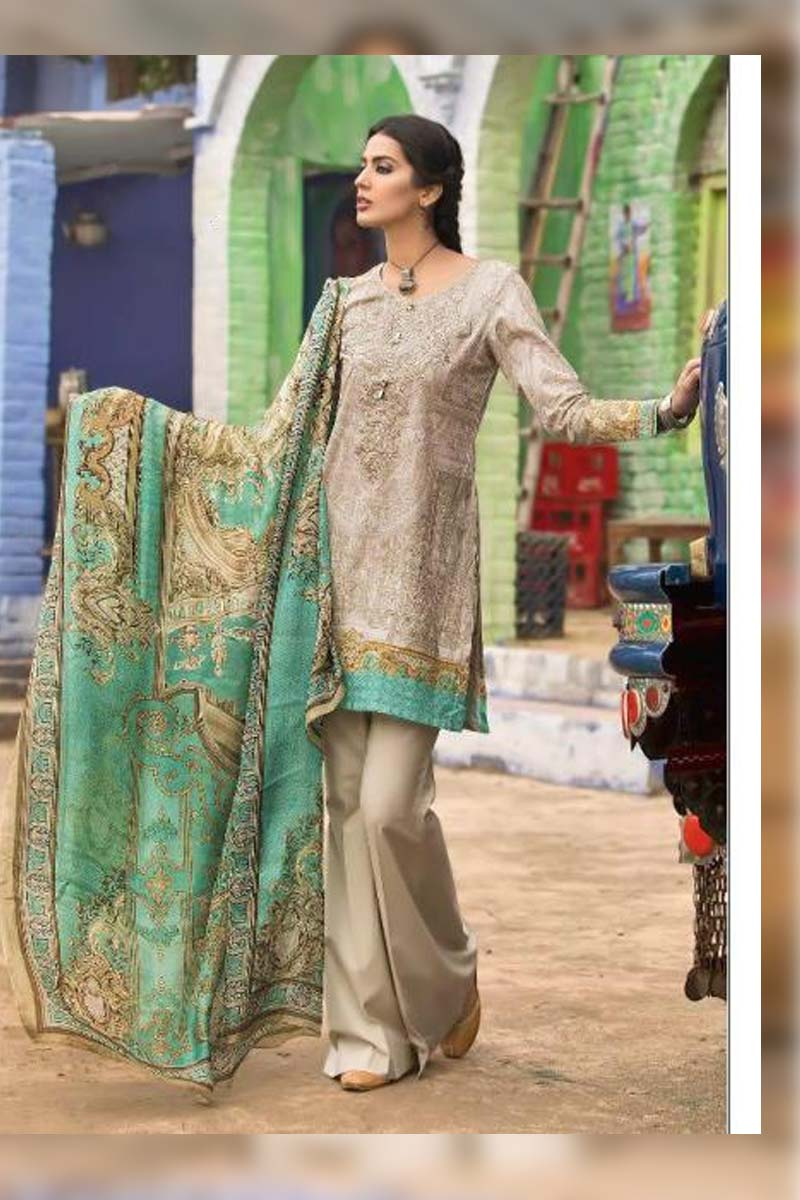 Printed Pure Cotton with Embroidery Work Pakistani Dress Material In Light Grey.