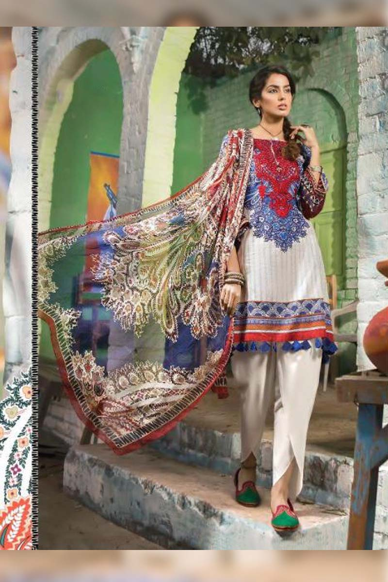 Printed Pure Cotton with Embroidery Work Pakistani Dress Material In White And Blue.