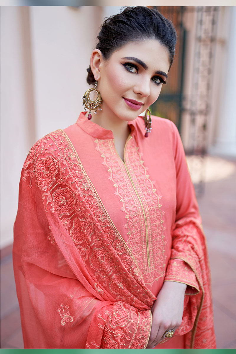 Designer Embroidered Plazzo Suit With Coral Colour