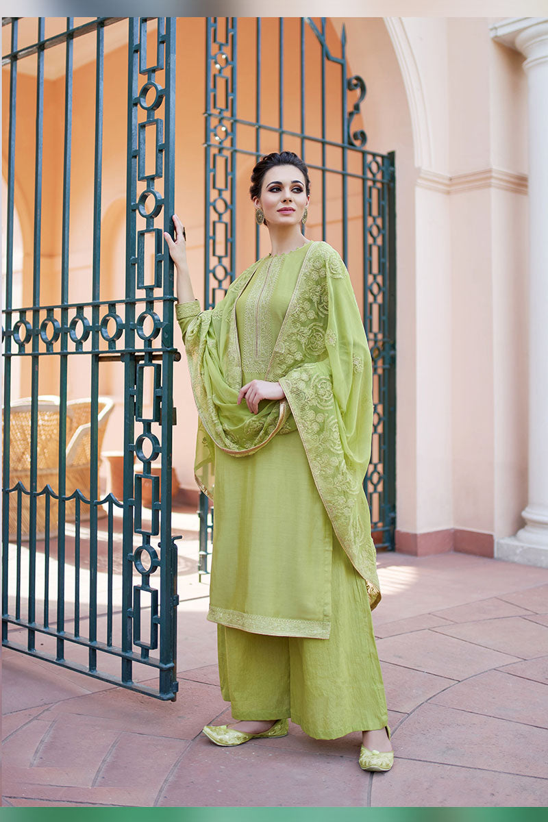 Designer Embroidered Plazzo Suit With Pista Colour