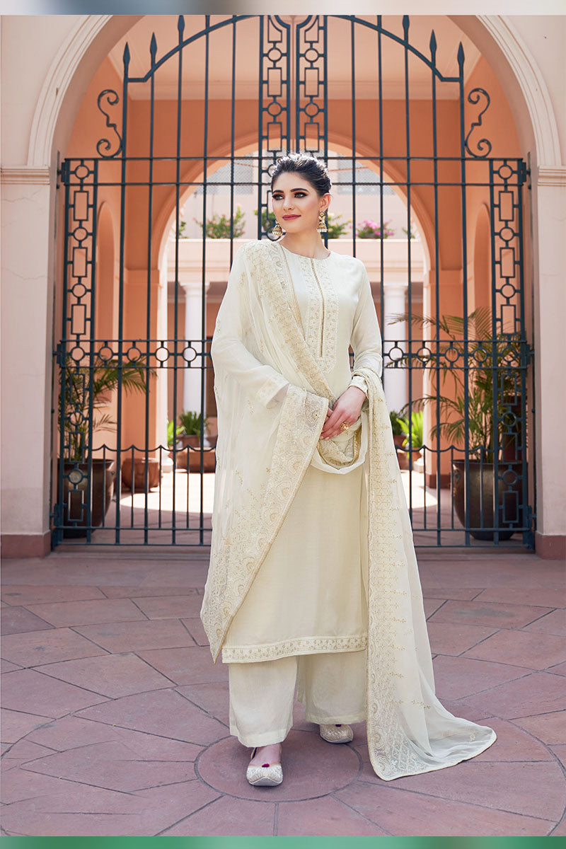 Designer Embroidered Plazzo Suit With Off-white Colour