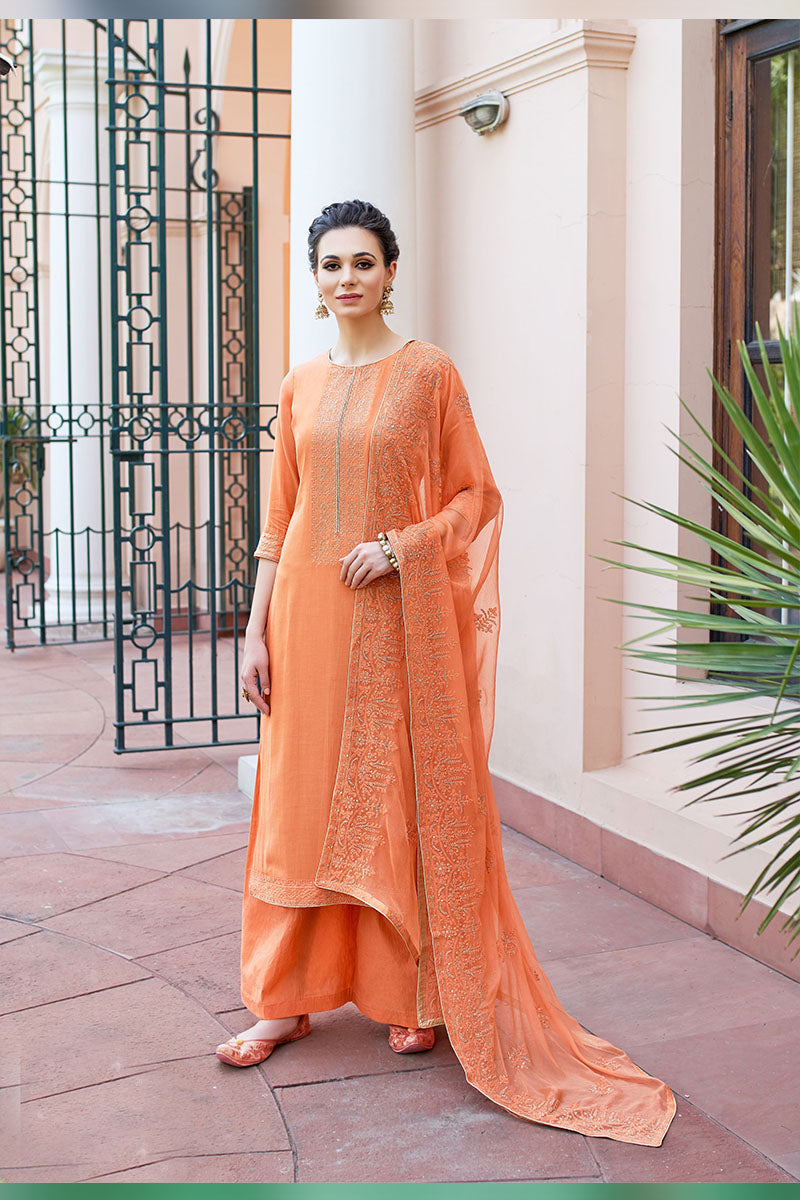 Designer Embroidered Palazzo Suit With Orange Colour