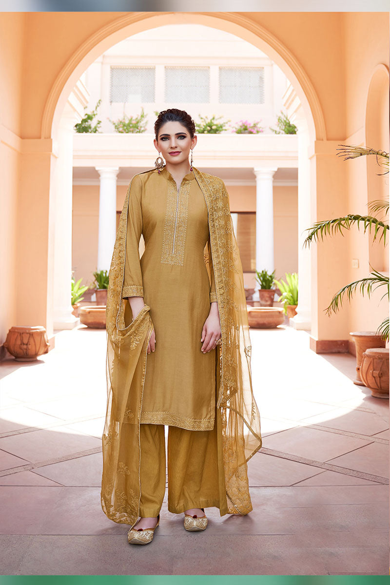 Designer Embroidered Palazzo Suit With Golden Colour