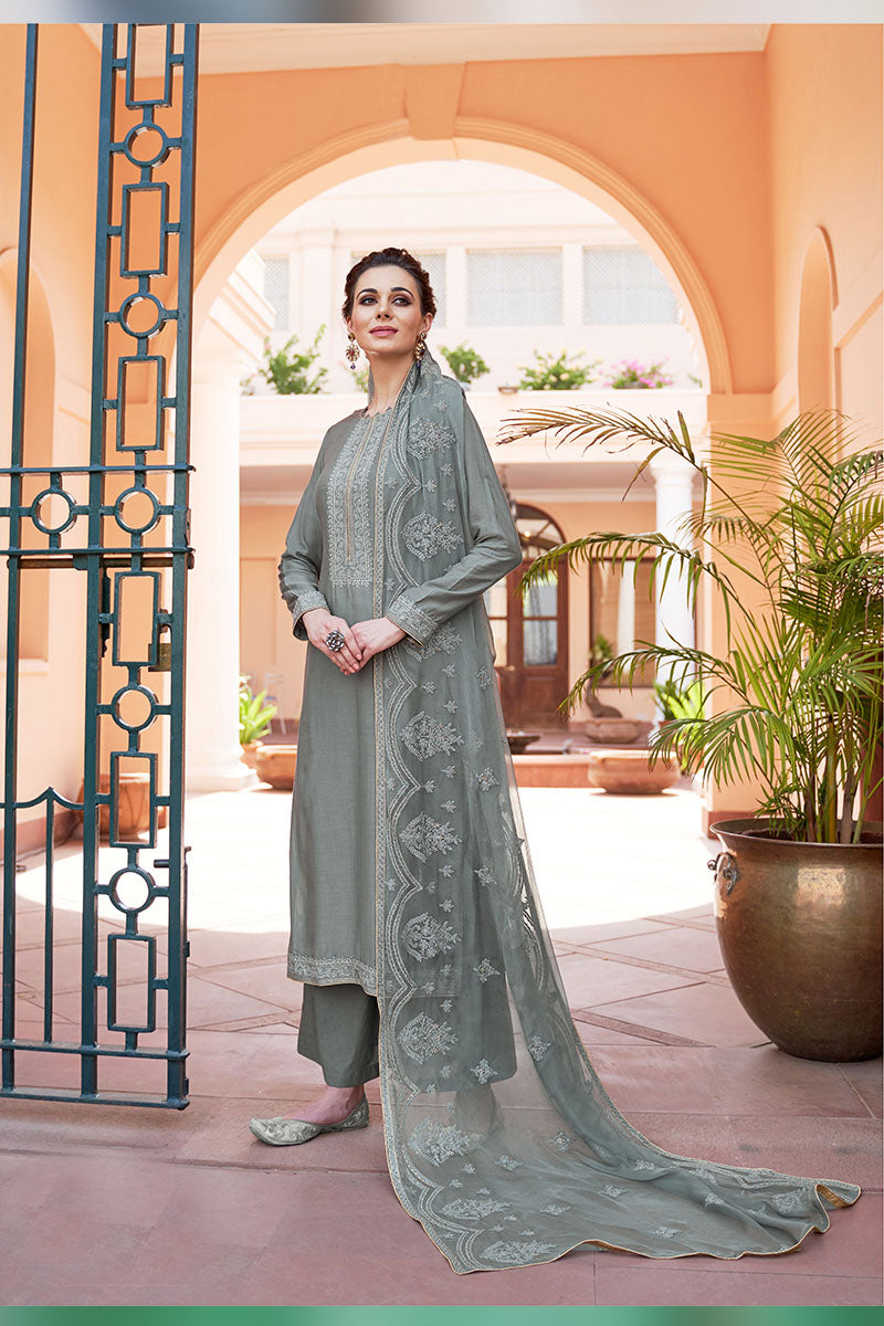 Designer Embroidered Palazzo Suit With Grey Colour