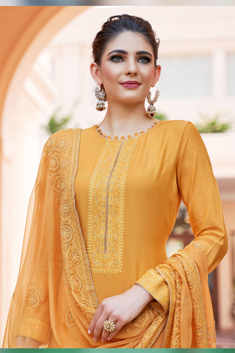 Designer Embroidered Palazzo Suit With Yellow Colour