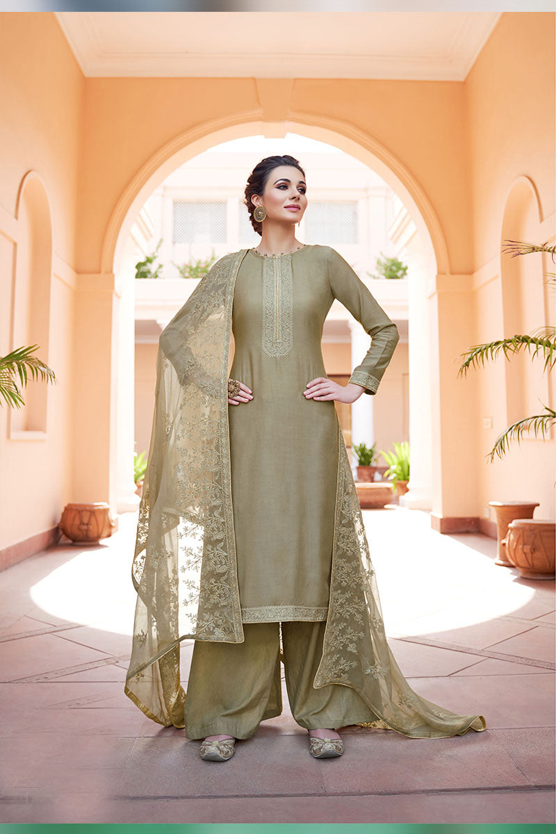 Designer Embroidered Palazzo Suit With Tan Colour