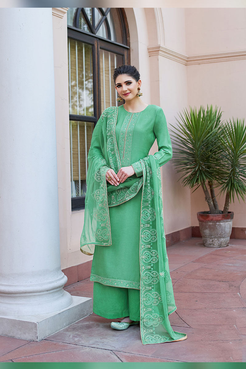 Designer Embroidered Palazzo Suit With Green Colour