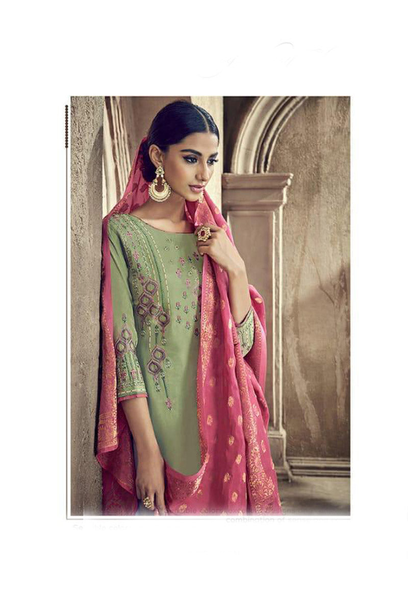 Designer Embroidred Pure Viscose Cotton Silk Plazzo Suit With Pista Colour