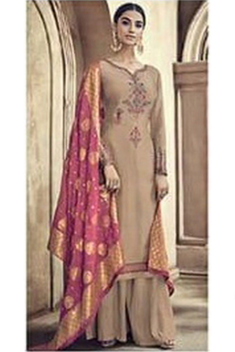 Designer Embroidred Pure Viscose Cotton Silk Plazzo Suit With Beige Colour
