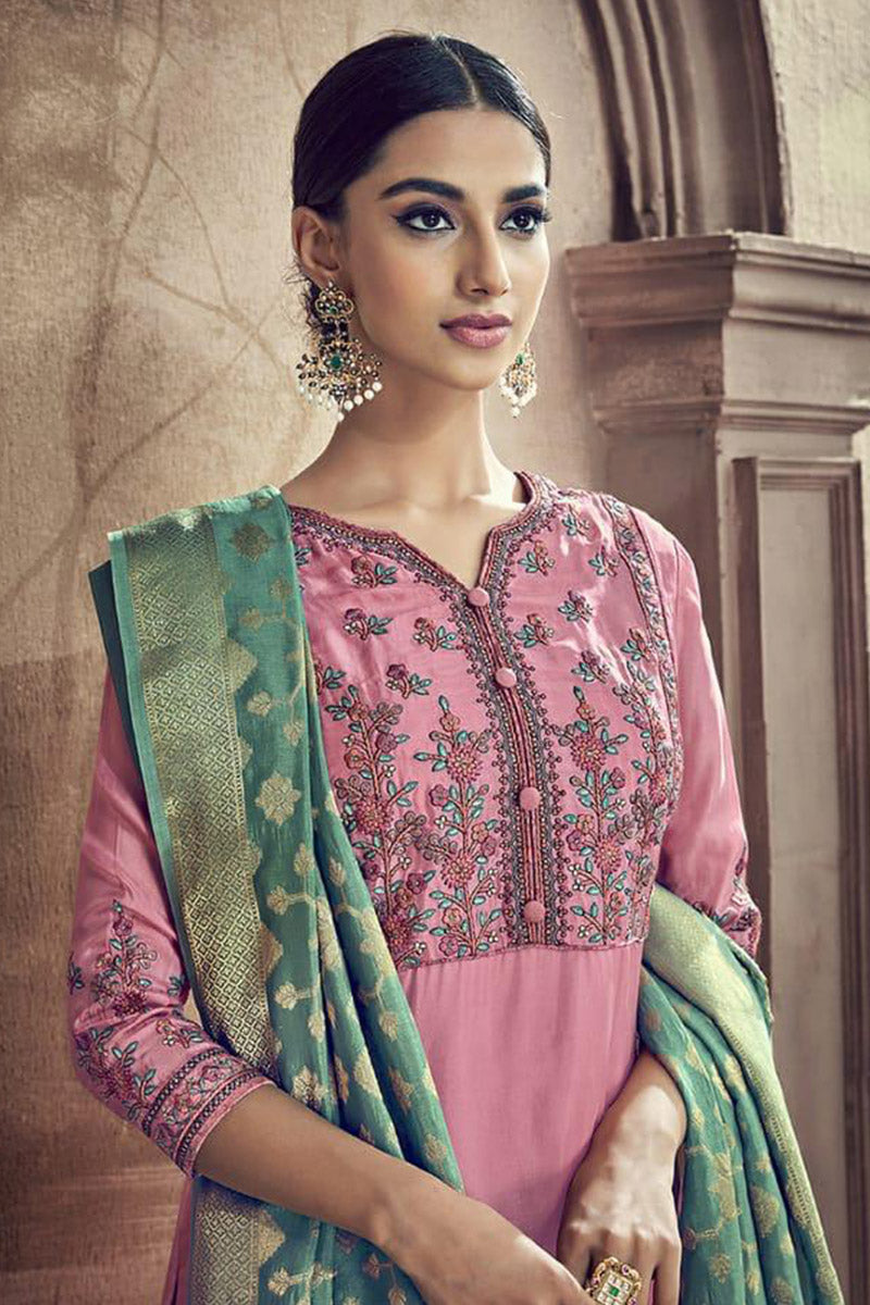 Designer Embroidred Pure Viscose Cotton Silk Plazzo Suit With Pink Colour
