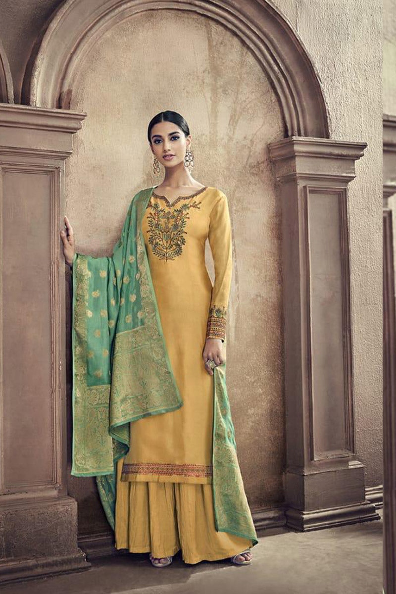 Designer Embroidred Pure Viscose Cotton Silk Plazzo Suit With Yellow Colour