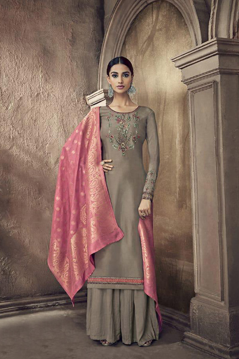 Designer Embroidred Pure Viscose Cotton Silk Plazzo Suit With Tan Colour