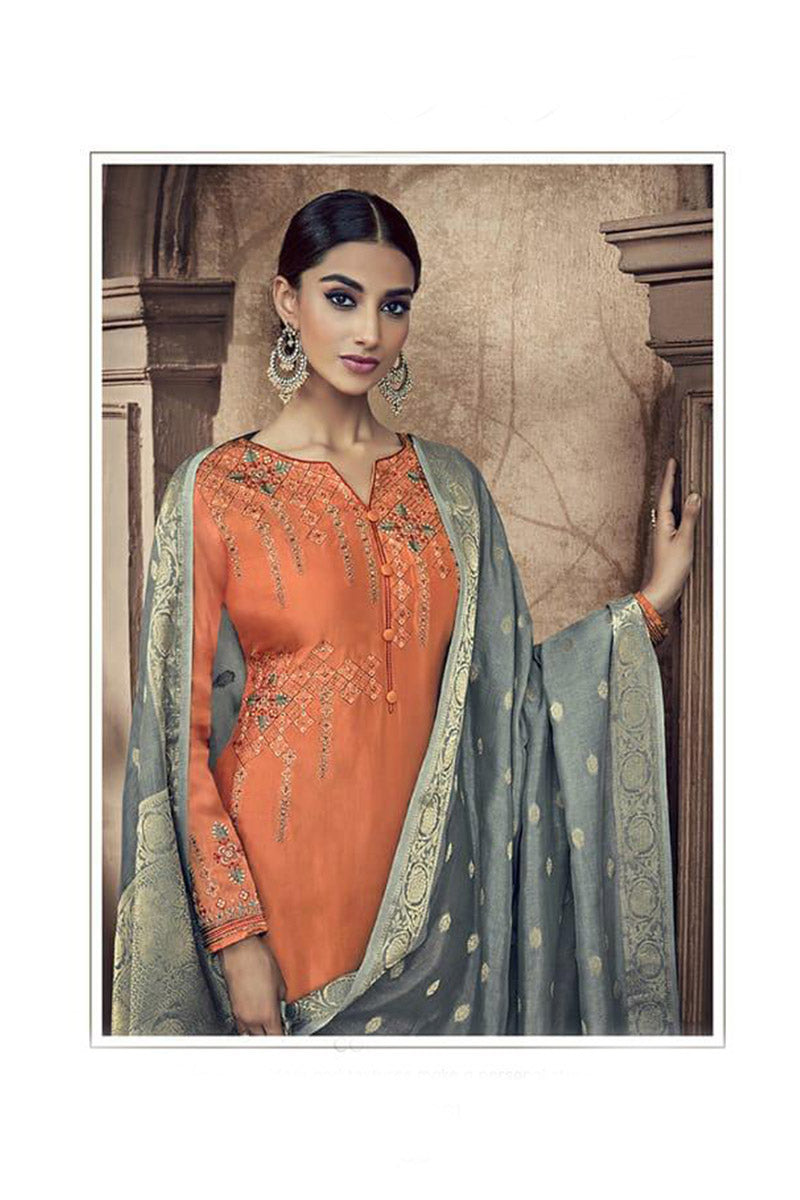 Designer Embroidred Pure Viscose Cotton Silk Palazzo Suit With Orange Colour