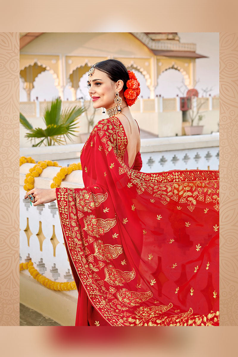 Traditional Designer Georgette Saree In Red Colour