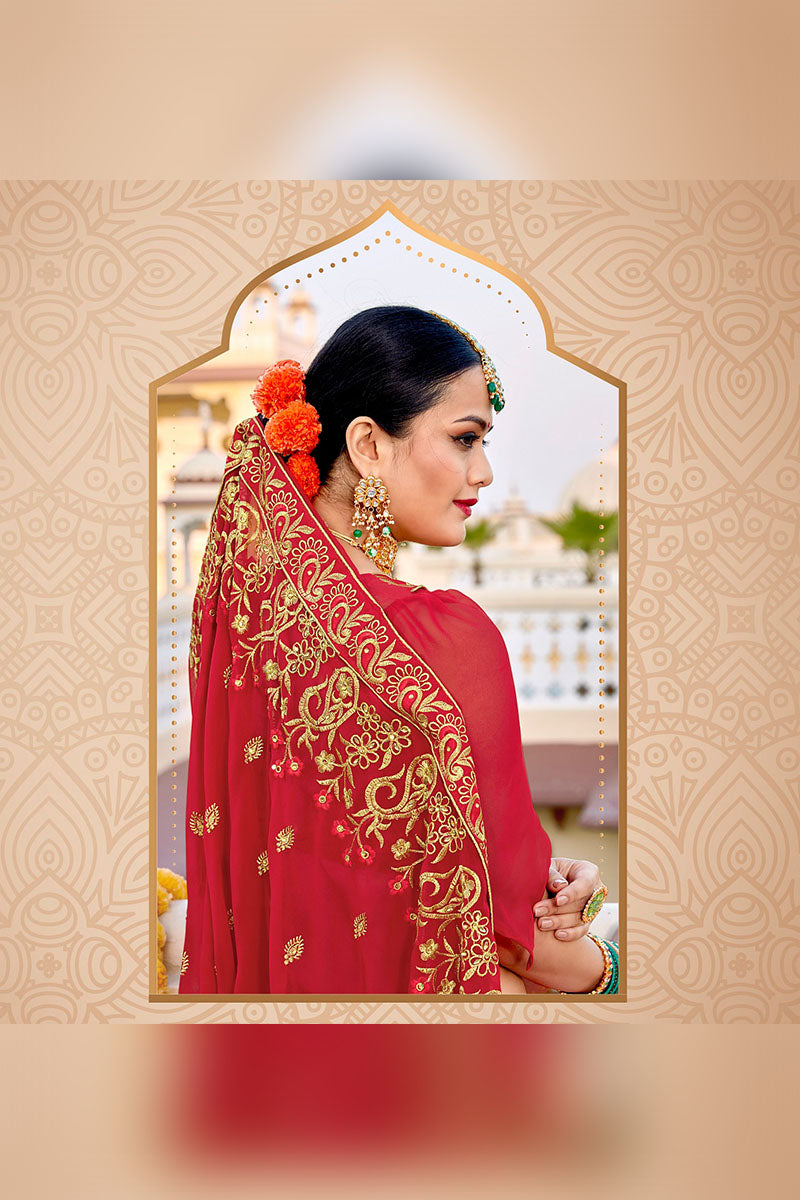 Gorgeous Designer Party Wear Georgette Saree In Red Colour