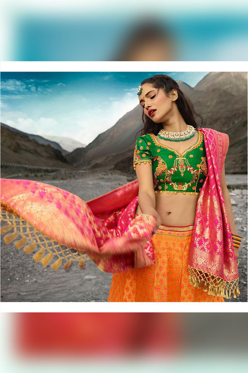 Orange-Green Bridal Wear Designer Banarasi Silk Lehenga Choli