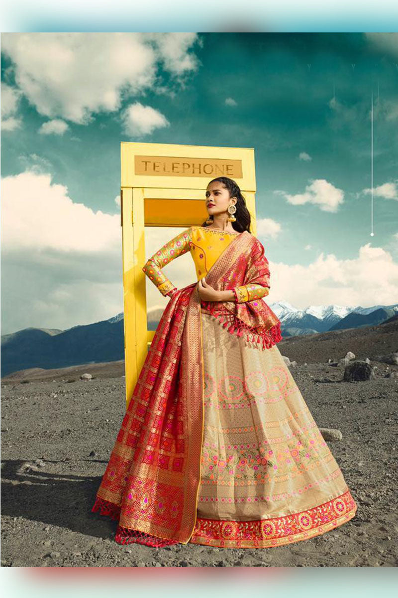 Lovely Beiege-Yellow Bridal Wear Designer Banarasi Silk Lehenga Choli
