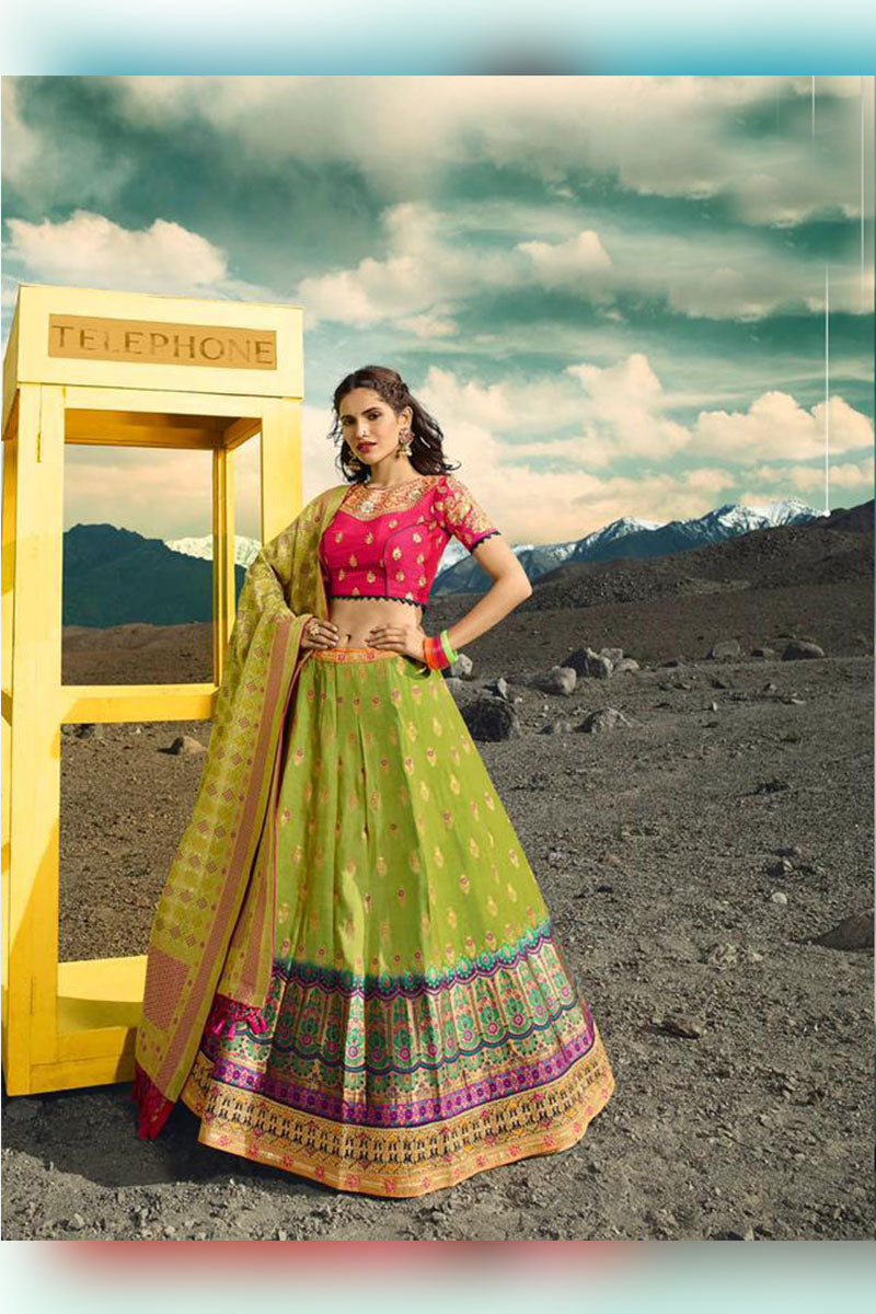 Light Green & Pink Bridal Wear Designer Banarasi Silk Lehenga Choli