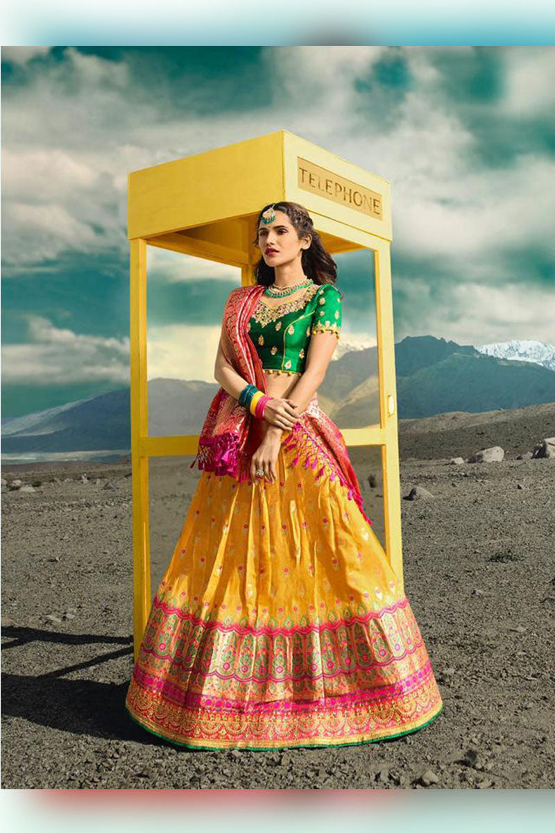 Yellow & Green Bridal Wear Designer Banarasi Silk Lehenga Choli