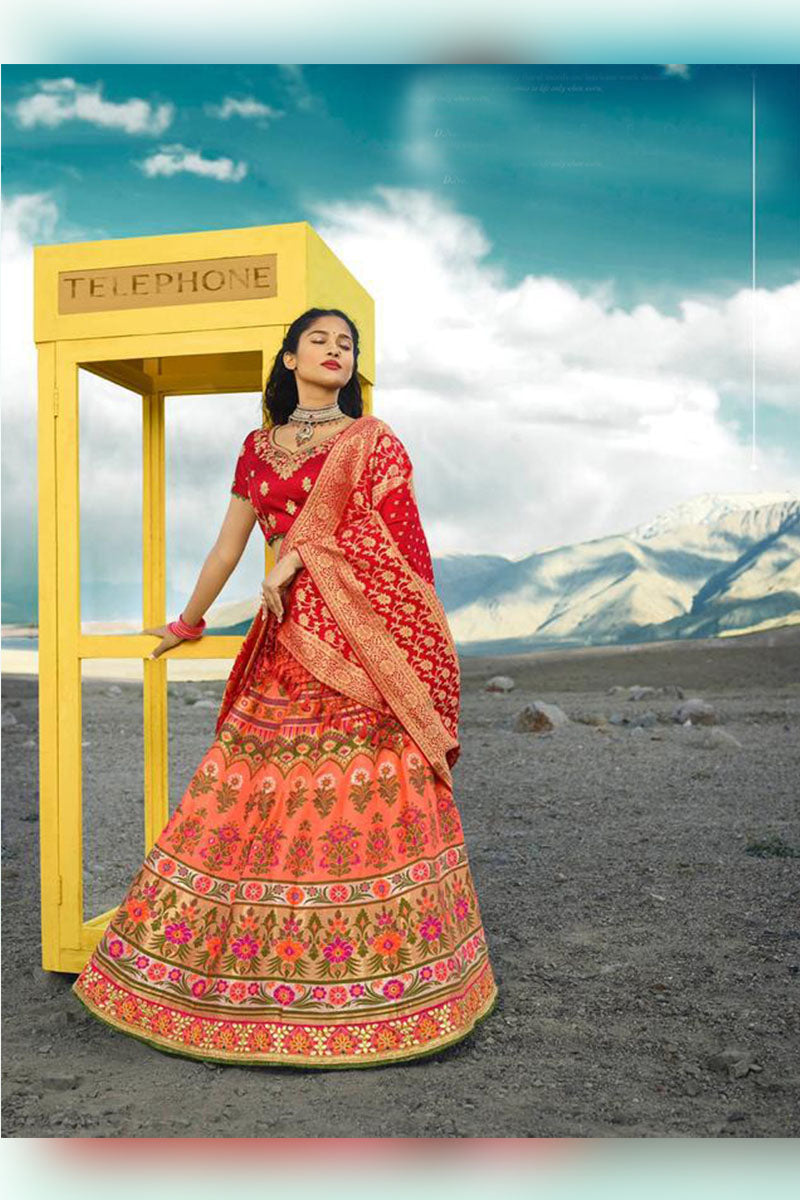 Peach & Red Bridal Wear Designer Banarasi Silk Lehenga Choli