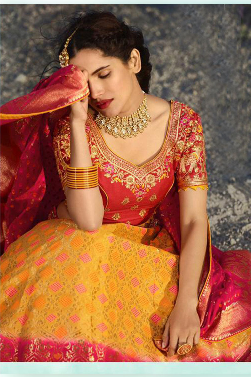 Yellow-Pink & Red Bridal Wear Designer Banarasi Silk Lehenga Choli