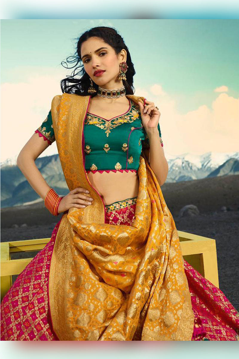 Lovely Pink-Green & Green Bridal Wear Designer Banarasi Silk Lehenga Choli