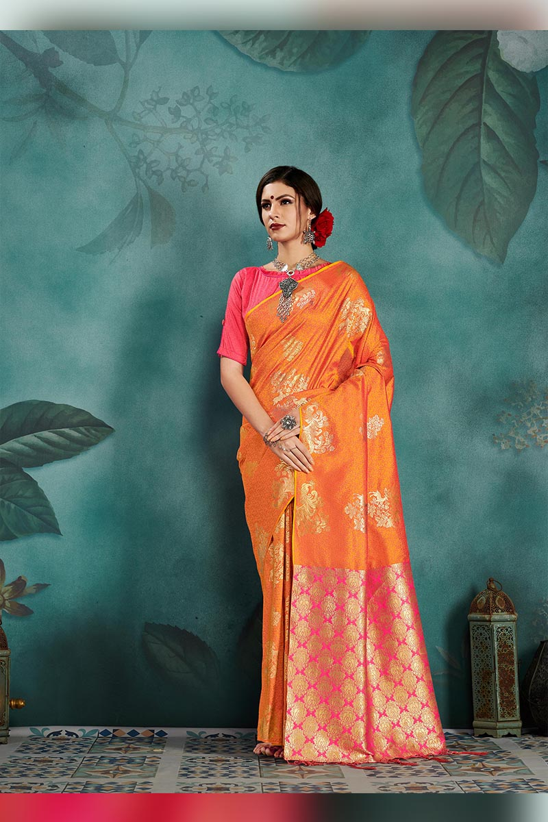 Classic And Truly Traditional Kanjivaram Silk Saree In Light Green Colour