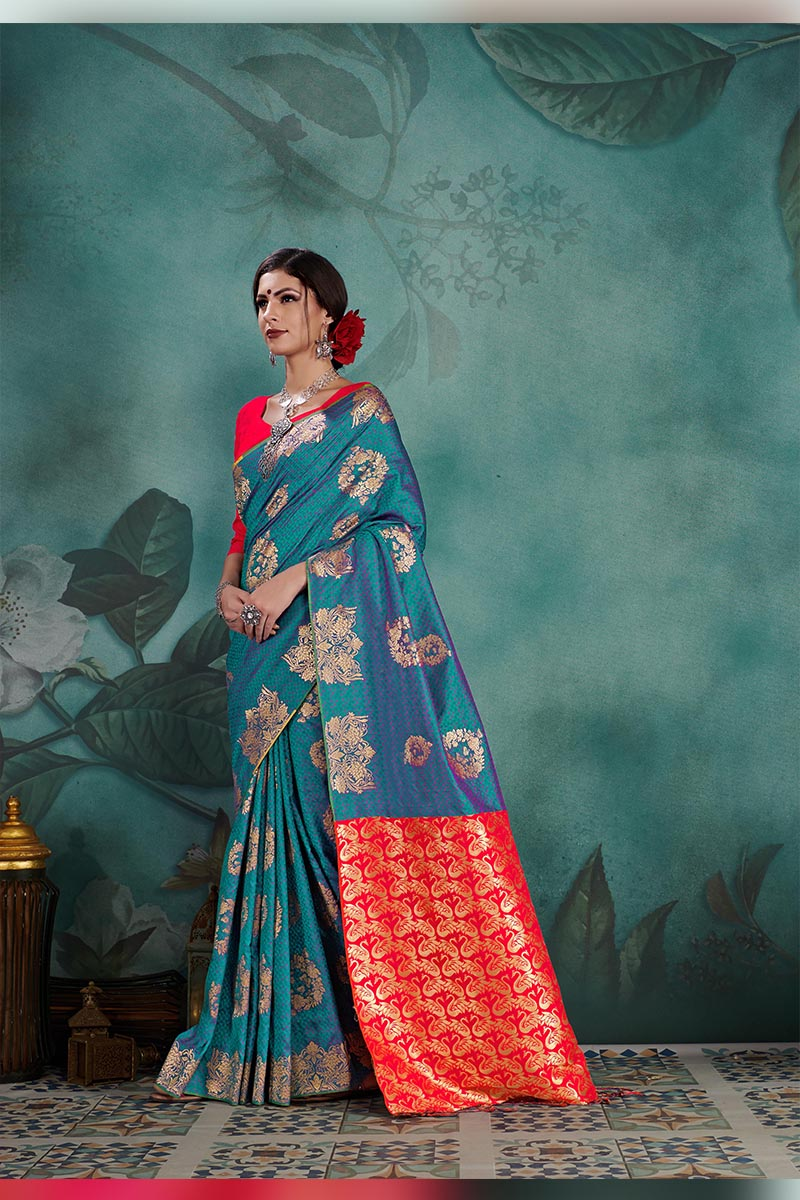 Classic And Truly Traditional Kanjivaram Silk Saree In Sea Blue Colour