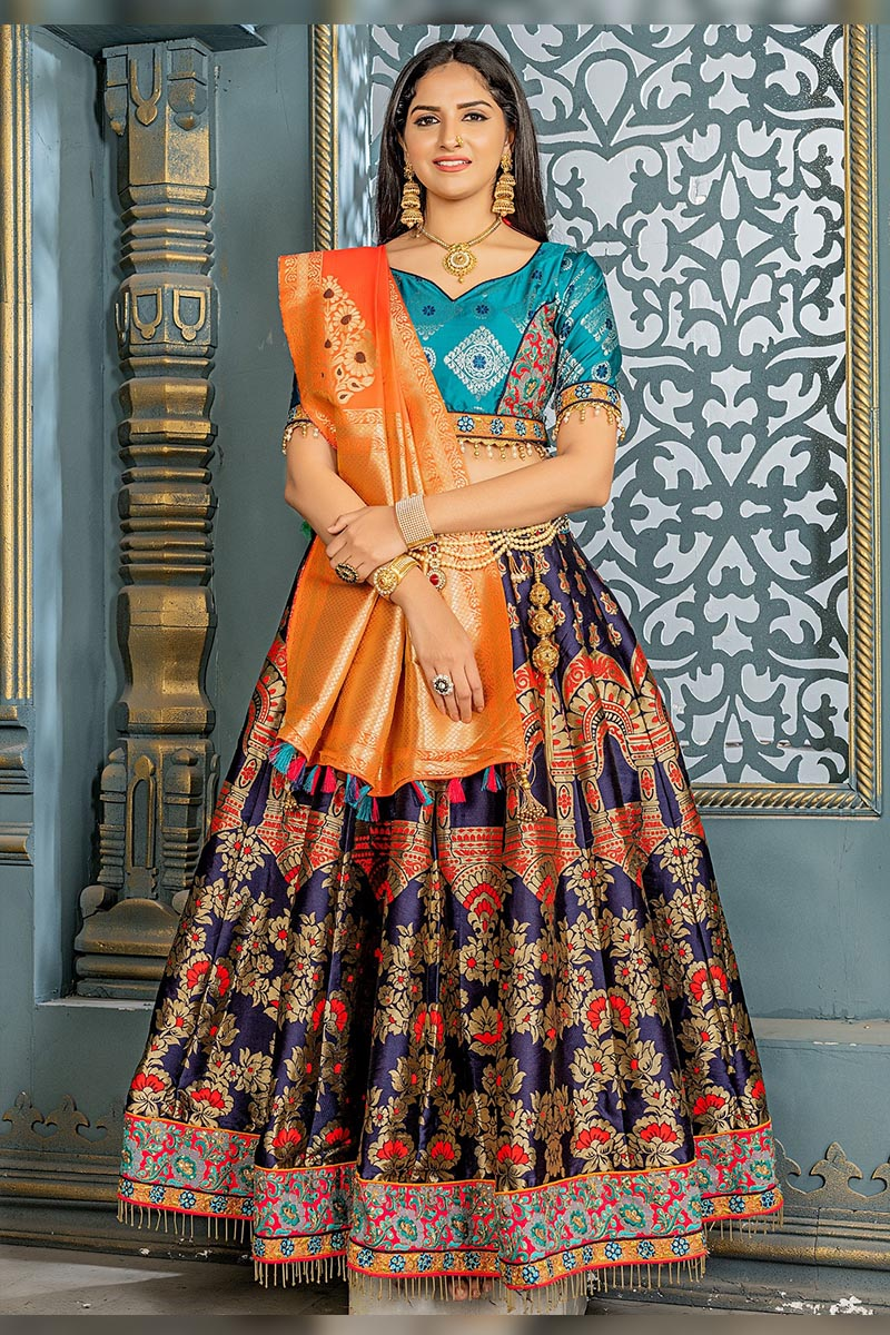 Bridal Designer Banarasi Silk Lehenga choli In Navy Blue.