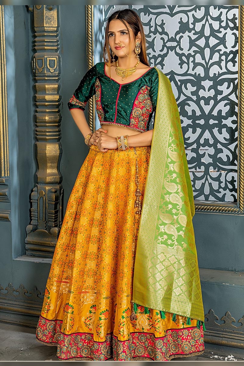Bridal Designer Banarasi Silk Lehenga choli In Fire Yellow
