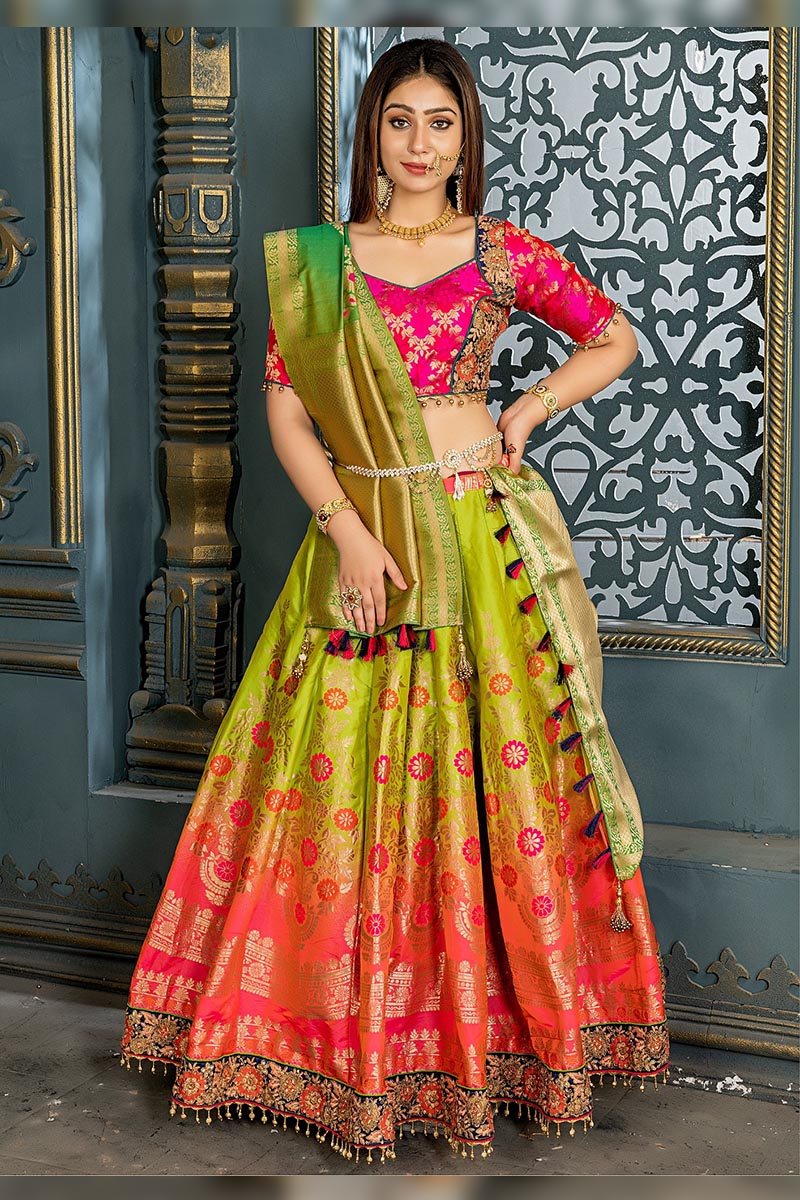 Bridal Designer Banarasi Silk Lehenga choli In Kime Green
