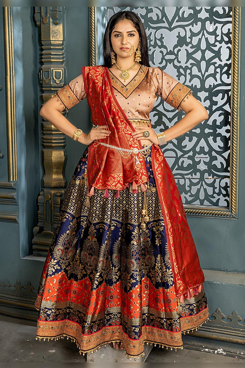 Navy Blue Colour in Bridal Designer Banarasi Silk Lehenga choli.