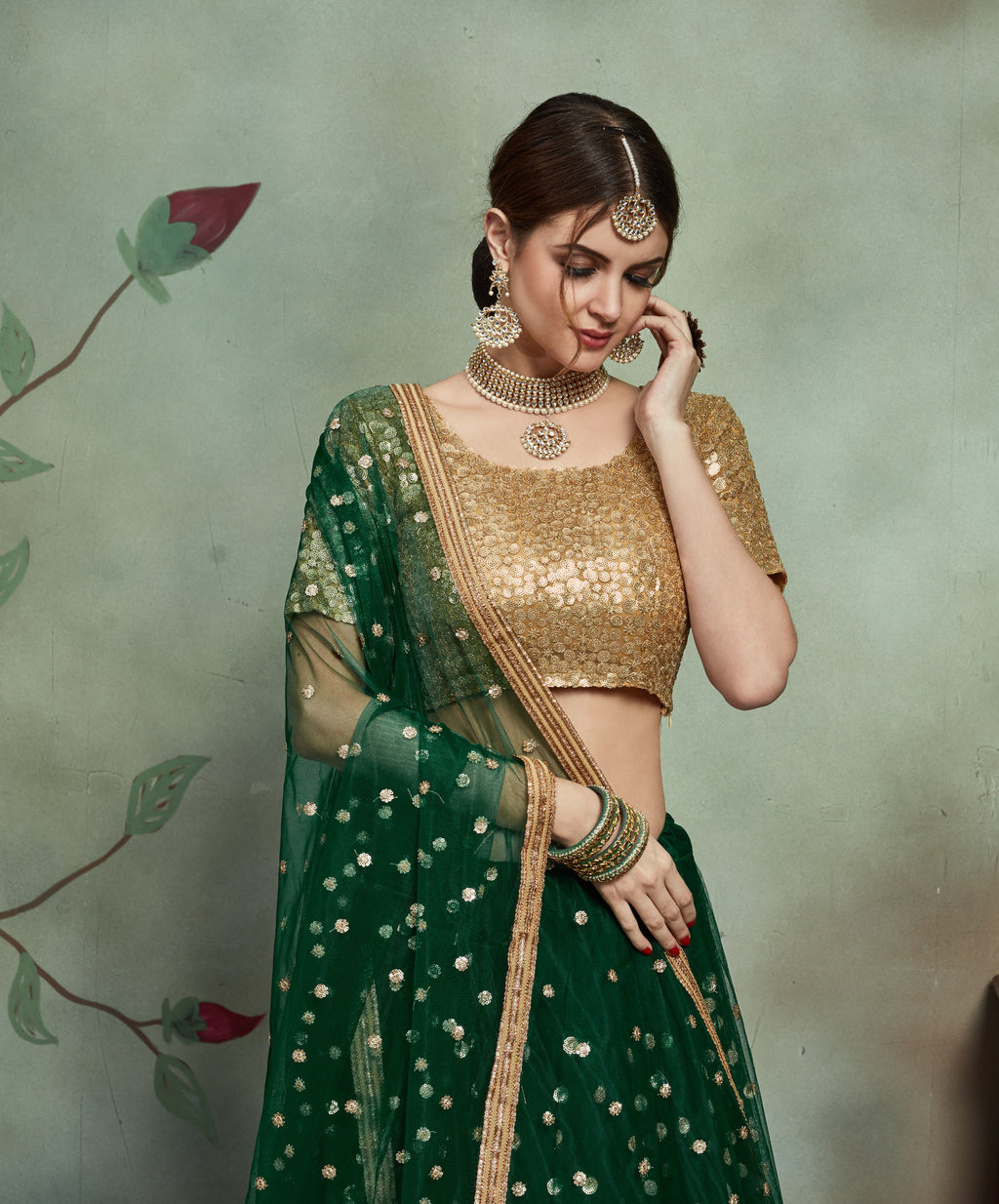 Party Wear Designer Lehenga Choli - Green Colour