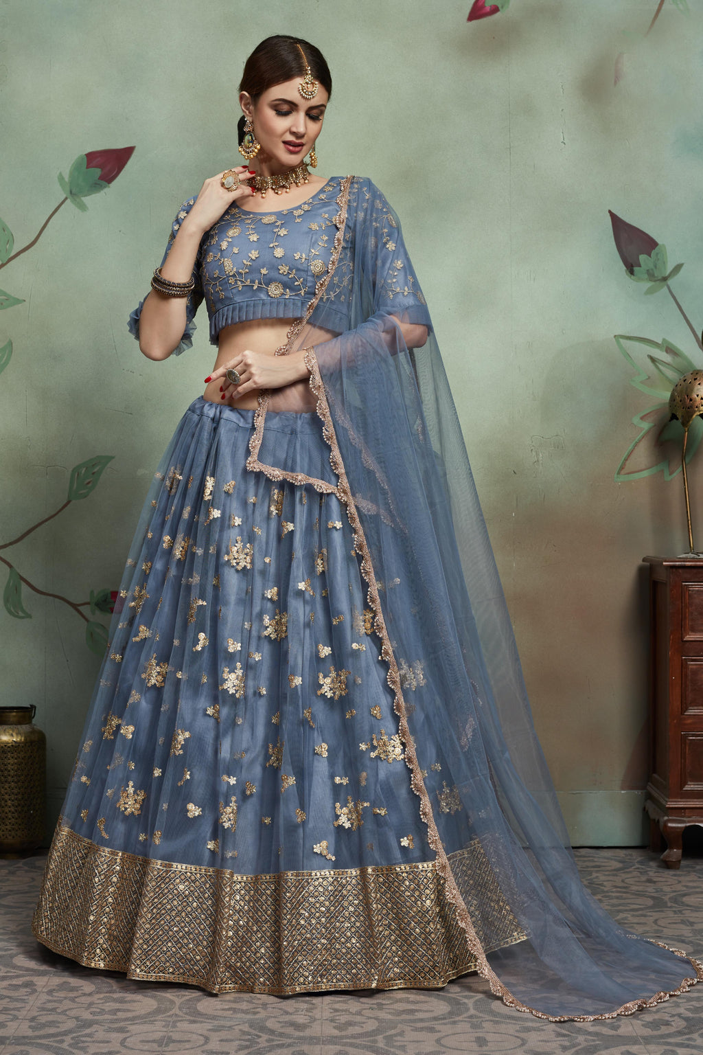 Party Wear Designer Lehenga Choli - Grey Colour